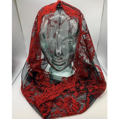 Infinity Chapel Veil Black with Red