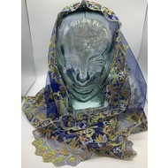 Blue with yellow and  Orange, Triangular Style Mantilla