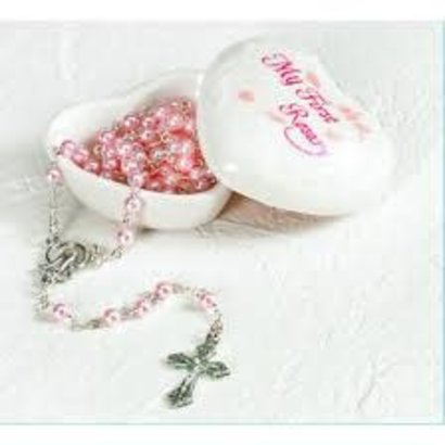 porcelain baby keepsake box with rosary- Pink