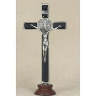 "8"" Black St. Benedict Enameled Crucifix on Wood Base"