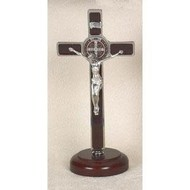 "8"" Brown Enamel St. Benedict Silver Tone crucifix onWood"