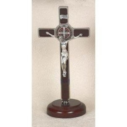 "8"" Brown Enamel St. Benedict Silver Tone crucifix onWood"