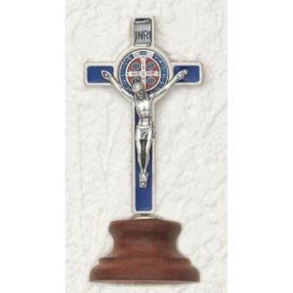 "3"" Deluxe Enameled Blue St. Benedict  Medal Cross on Base"