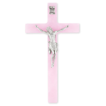 """Pearlized Pink Cross with Pewter Corpus, 7"""""""