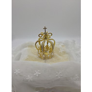 Metal Gold Crown with Pearl Beads 5cm