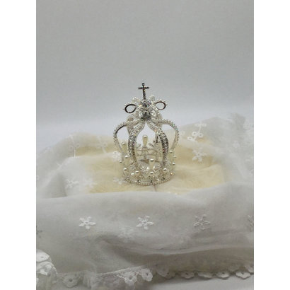 Metal Silver Crown with Pearl Beads 5cm