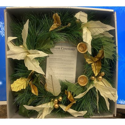 "Advent Wreath 14"" with Poinsettia and Greenery"