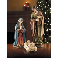 """Nativity Set, 3 pcs, Made of Stone Resin, It has Detailed Carvings, Antique Color Palette,16"""""""