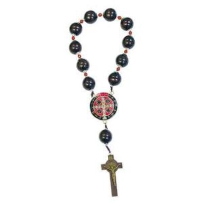 St. Benedict Door Rosary with Wooden Beads Made in Italy