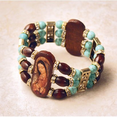 Wood Bracelet Divine Mercy and OL Guadalupe