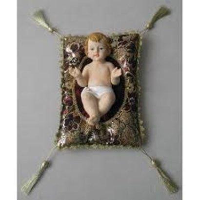 "Baby Jesus with Burgandy & Gold Cushion, 5"""