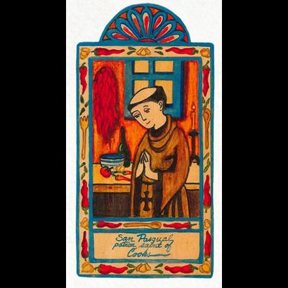 San Pasqual Retablo Pocket Saint - Patron of Cooks, Shepherds & Sheep