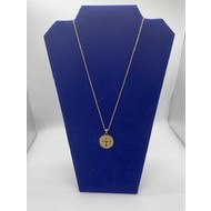 """St. Benedict Medal 1"""" on 18"""" Chain- Gold Plated Stainless Steal"""