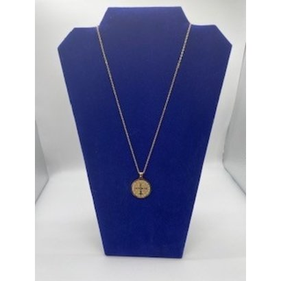 """1"""" St. Benedict Medal on 18"""" Chain- Gold Plated Stainless Steel"""