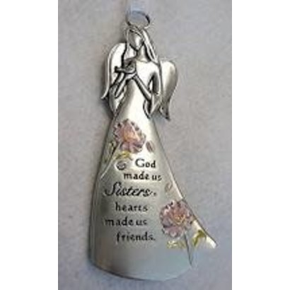 """Angel Ornament, """"God made us sisters, hearts made us friends"""""""