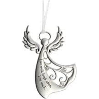 """Angel Ornament, """"Live well, Laugh often, Laugh much"""""""