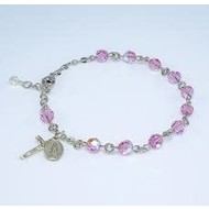 Sterling Silver Rosary Bracelet Created with 6mm Swarovski Crystal Light Rose Beads