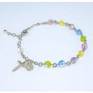 Swarovski Crystal Multi Color Round Shaped Sterling Silver Rosary Bracelet 6mm