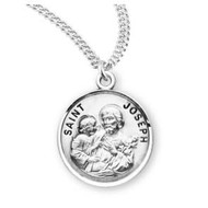 "Saint Joseph Round Sterling Silver Medal 20"" Chain"