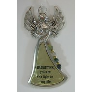 """Angel Ornament, """"Daughter you are the light in my life"""""""