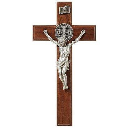 "10"" St. Benedict Crucifix - Antique Silver"