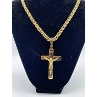 """Large Gold Plated Crucifix with 24"""" Chain"""