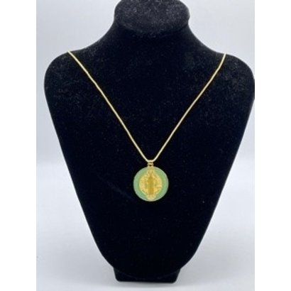 "Gold Plated St. Benedict Medal with Green Epoxy on 24"" Chain"
