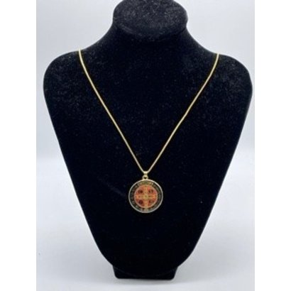 """Gold Plated St. Benedict Medal with Black Epoxy on 24"""" Chain"""