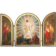 "Resurrection of Christ Triptych Wooden Gold Foil 4 3/4"" Tall x 7 3/4"" Width"