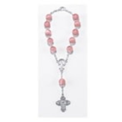 Auto Rosary - Single Decade Rose Auto Rosary carded w/ Clasp, 8mm Glass Beads