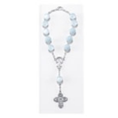 Auto Rosary - Single Decade Light Blue  Auto Rosary carded w/ Clasp, 8mm Glass Beads