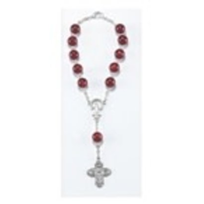 Auto Rosary - Single Decade Red  Auto Rosary Carded w/ Clasp, 8mm Glass Beads