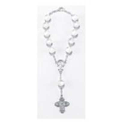 Auto Rosary - Single Decade White  Auto Rosary Carded w/ Clasp, 8mm Glass Beads