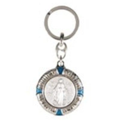 Miraculous Medal Nickel Enameled Keychain