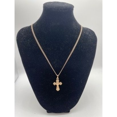 """Fancy Crucifix Rose Gold on 18"""" Chain"""