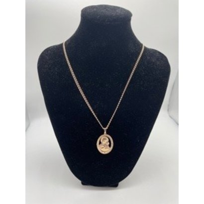 """Our Lady of Perpetual Help Oval Rose Gold on 18"""" Chain"""