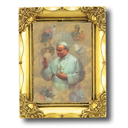 "BLESSED JOHN PAUL II 4.5""X3"" ANTIQUE GOLD FRAME"