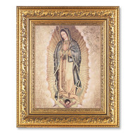 "OUR LADY OF GUADALUPE ORNATE GOLD LEAF ANTIQUE FRAME, 12 1/2"" x 14 1/2"""