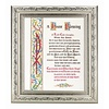 "HOUSE BLESSING IN A FINE DETAILED SCROLL CARVINGS ANTIQUE SILVER FRAME10"" X 12"""
