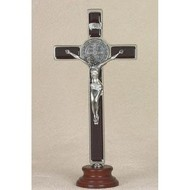 "8"" Brown St. Benedict Enameled Crucifix on Wood Base."