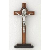 "8"" Wood St. Benedict Cross on Wood Base"