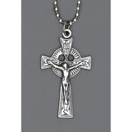 """Auto Jewelry 1 1/4"""" Inch St. Benedict  Crucifix  w/ Ball Chain- Made in Italy"""