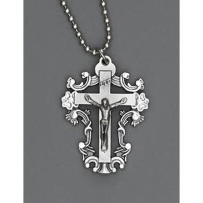 Auto Jewelry 1 1/2 inch Crucifix Medal w/ Ball Chain- Made in Italy