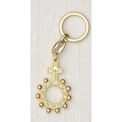 Gold Tone Finger Rosary Keyring. Made in Italy