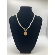 Pearl Necklace w/ Gold Plate St. Benedict Metal