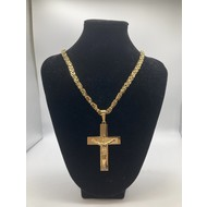 "Stainless Steel Crucifix Gold Plated 26"" Chain"