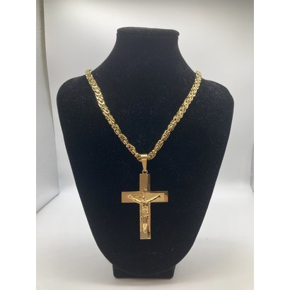 """Stainless Steel Crucifix Gold Plated 26"""" Chain"""