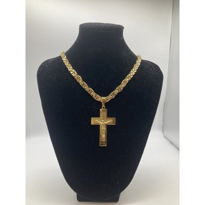 "Stainless Steel Crucifix Gold Plate  26"" Chain"