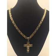 """Stainless Steel Crucifix Gold Plated Two-Tone 26"""" Chain"""