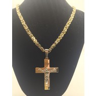 "Stainless Steel Crucifix Two-Tone 26"" Chain"